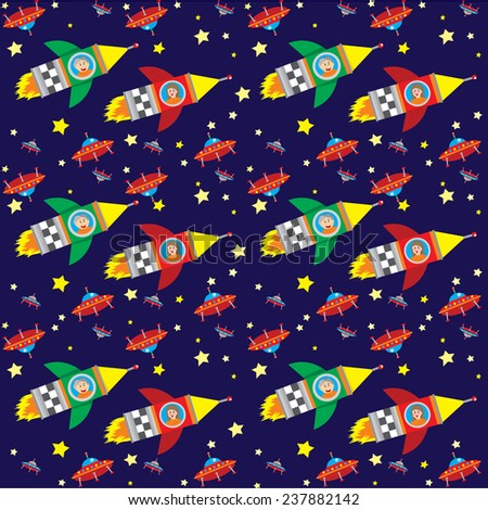 Vector pattern on a dark blue background. Boy and girl flying a rocket near the flying saucers and stars. - stock vector