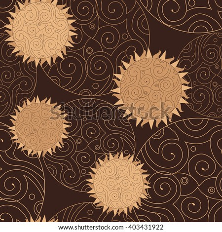 Vector  pattern on the day of the sun, in light brown color. - stock vector
