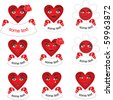 "Vector pattern red hearts banners with ""some text""  messages in hands. Template and sample for your  messages with some promo information or simply icons. Be love. - stock photo"