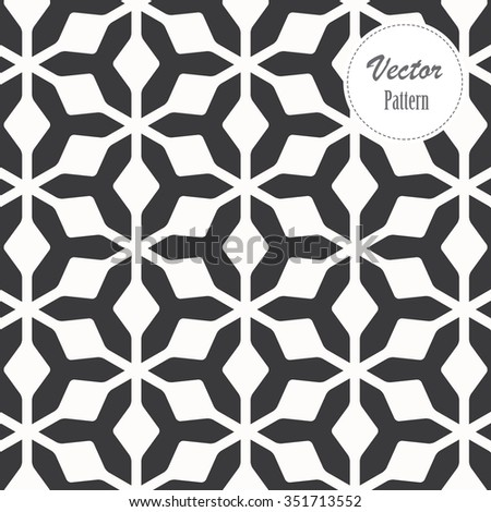 Vector pattern. Repeating abstract background, monochrome stylish. - stock vector