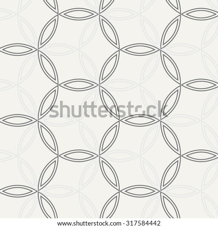 Vector pattern. Repeating geometric flowers in circle - stock vector