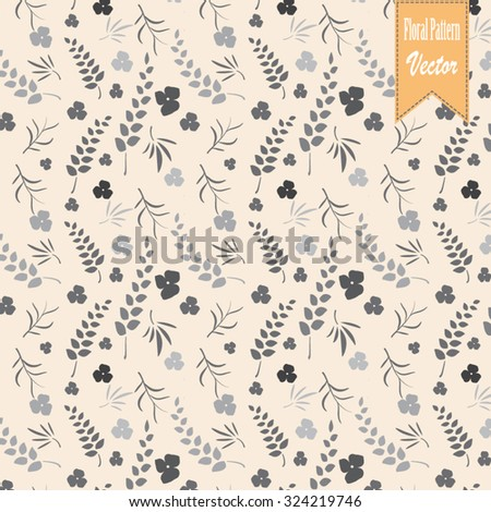 Vector pattern, repeating leaves and flower