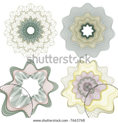 vector pattern rosette guilloche for document decoration