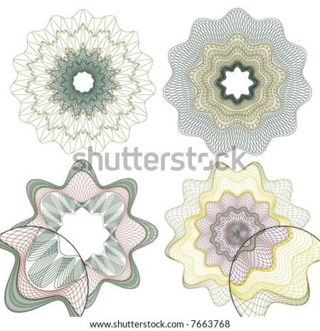 vector pattern rosette guilloche for document decoration - stock vector