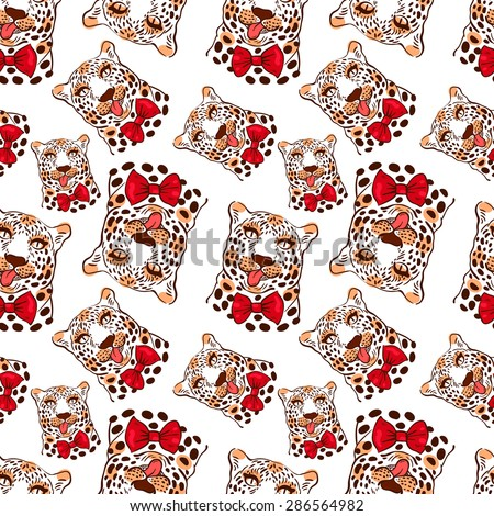 vector pattern, seamless Wallpaper with a picture of the muzzle of the leopard with protruding tongue, bow tie - stock vector