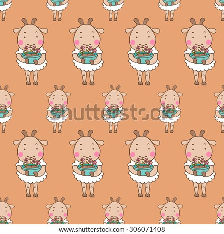Vector Pattern Seamless Wallpaper With Lamb In The Paws A Pot Of Flowers
