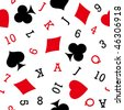 Vector pattern seamless with playing card icons for continuous replicate. - stock vector