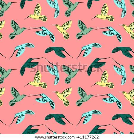 vector pattern, vector birds, Hummingbird, Hummingbird vector, seamless pattern, print for t-shirts, print to garment, fashionable print hummingbirds, birds, summer pattern - stock vector