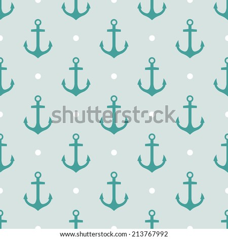 Vector pattern with anchors - stock vector