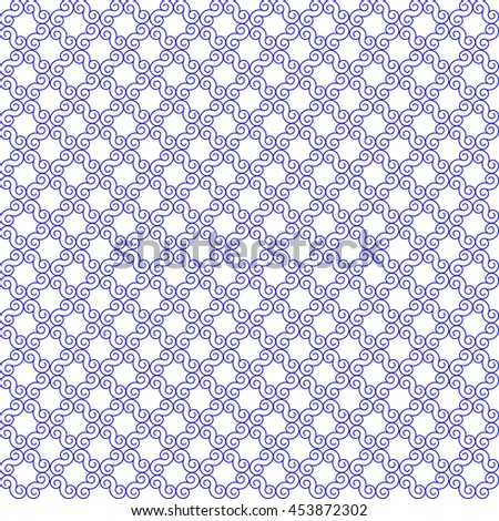 Vector pattern with art ornament. Elements for design . Ornamental lace tracery background . Blue  white. - stock vector