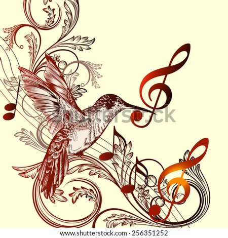 Vector pattern with bird and music notes - stock vector