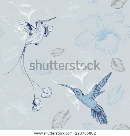 vector pattern with birds hummingbirds and flowers in color goluboom - stock vector