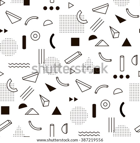 Vector pattern with black and white geometric shapes. Hipster fashion Memphis style. - stock vector