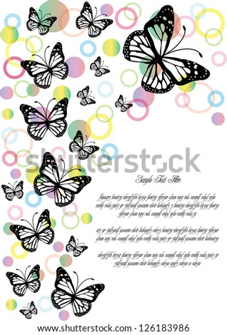 vector pattern with butterflies silhouettes and colorful bubbles isolated on white background