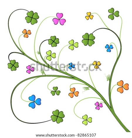 Vector pattern with clover leaves