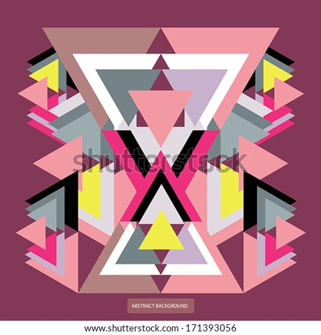 Vector pattern with colorful geometric shapes, triangles.Colorful backdrop, seamless background pattern, retro style banner. - stock vector