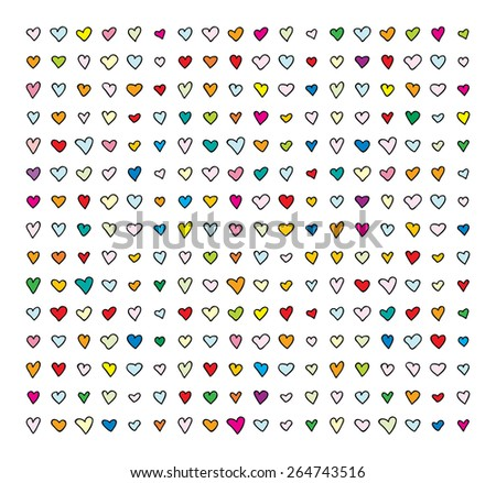 vector pattern with colorful hearts for children