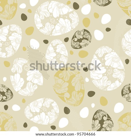 Vector pattern with easter eggs - stock vector