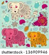 Vector pattern with elephants - stock vector