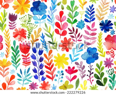 Vector pattern with flowers and plants. Floral decor. Original floral seamless background. Bright colors watercolor, autumn-summer botanical elements - stock vector