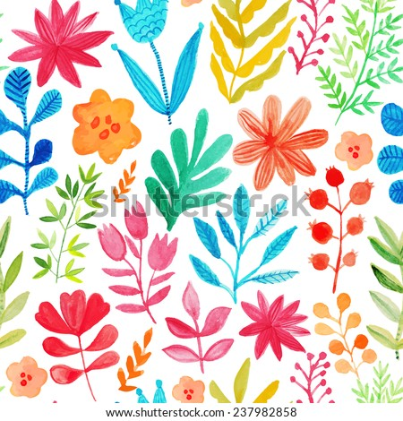 Vector Pattern Flowers Plants Floral Decor Stock 237982858