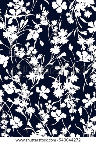 Vector pattern with flowers, monochrome,drawing hands  flower.