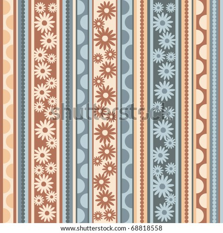 vector pattern with flowers, seamless - stock vector