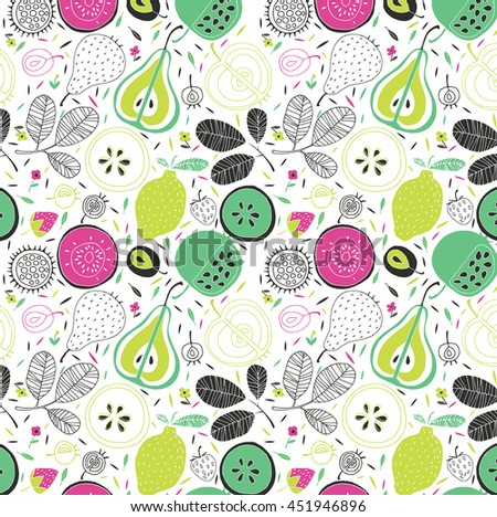 Vector pattern with fruits and berries - stock vector