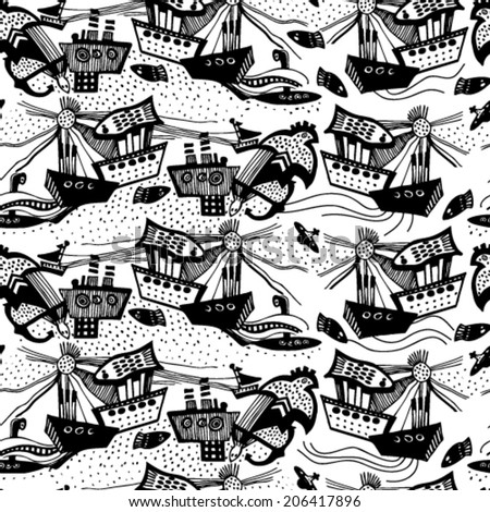 Vector pattern with hand drawn black and white sail boats. - stock vector