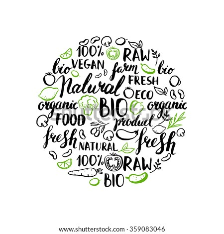 Vector pattern with handwritten elements and vegetables. Headers with rough edges. Organic, food, farm, fresh, vegan, vegetarian, product. Ink brush hand lettering. Hand drawn leaves and vegetables. - stock vector