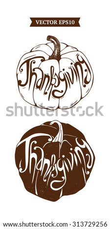 Vector pattern with Lettering Thanksgiving day element. Typographic design. Seamless Thanksgiving background