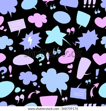Vector pattern with many colorful empty speech bubbles on black background. Seamless pattern can be used for wallpaper, pattern fills, web page background,surface textures. - stock vector