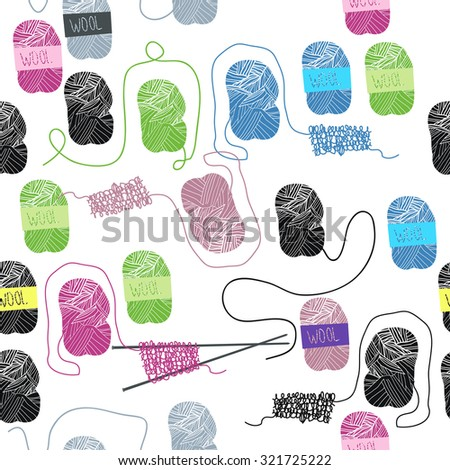 Vector pattern with needles and skeins of thread. - stock vector