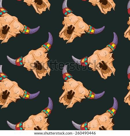 Vector pattern with skeleton bulls - stock vector