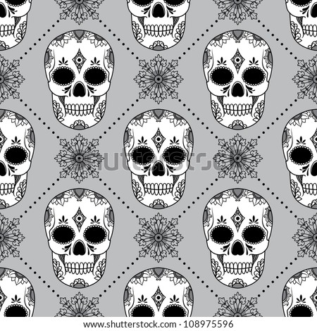 vector pattern with skulls - stock vector