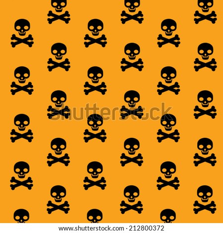 vector pattern with skulls and bones on orange background - stock vector