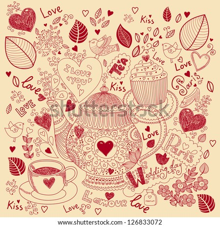 Vector pattern with tea pot, cup and cake - stock vector