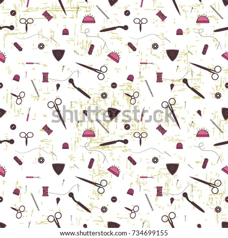 Vector Pattern Image Tools Sewing Theme Stock Vector HD (Royalty ...