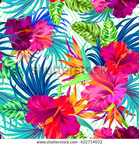 vector pattern with tropical flowers. Detailed colorful graphic botanical elements. Neon colors