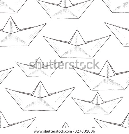 vector pattern with white background paper boat, child drawing, sketch, black and white wallpaper