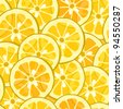 Vector pattern with yellow hand-drawn lemon and orange - stock vector