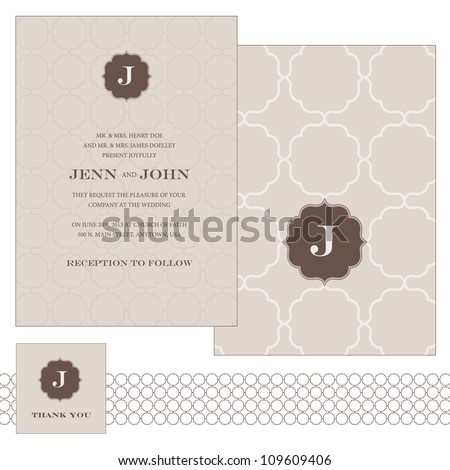 Vector Patterned Frame Set. Easy to edit. Perfect for invitations or announcements. - stock vector