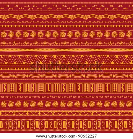 Vector patterns including ethnic Australian motive with multicolored typical elements - stock vector