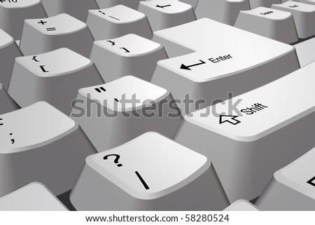 Vector PC keyboard closeup - stock vector