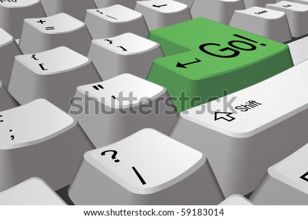 Vector pc keyboard with green go! key closeup