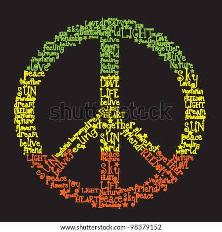 vector peace symbol made of words in rasta colors - stock vector