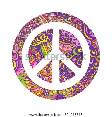 Vector Peace Symbol Made Zentangles Pacifism Stock Vector 324218315