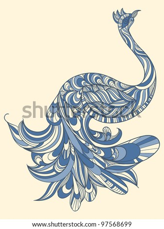 vector peacock with detailed tail - stock vector