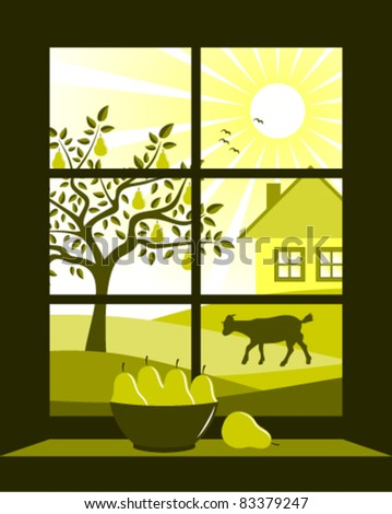 vector pear tree and cottage outside the window - stock vector