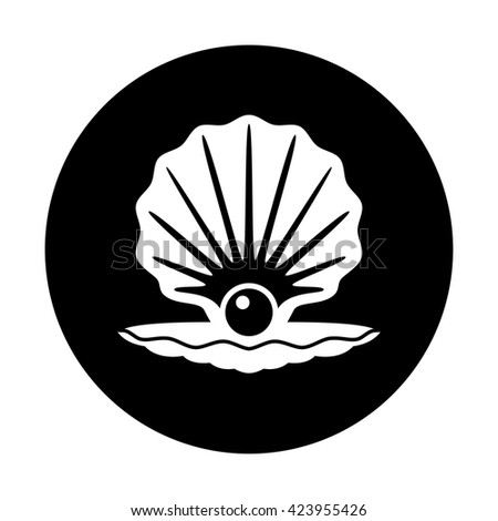 vector pearl in a shell black and white icon - stock vector